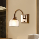 1/2/3-Light Metal Vanity Light Fixture Retro Brass Dome Bathroom Wall Mount Lamp with Ribbed Glass Shade