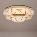 Hexagonal Curved Frosted Glass Flush Mount Lamp Classic 3/4/6 Lights Bedroom Ceiling Mounted Fixture in Gold