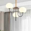 Opal Glass Dome Chandelier Lamp Nordic Stylish 3/5 Lights Gray/Green Finish Pendant Light Fixture