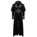 Halloween Costume Plain Lace-Up Detail PU Buckle Panel Zipper Front Gothic Longline Trench Coat