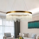 Tubular Pendant Chandelier Contemporary Crystal LED Gold Hanging Light Fixture in White/Warm Light, 16