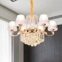 Modern Style Tapered Ceiling Chandelier 6/8/10 Lights Living Room Pendant Light Fixture in Gold