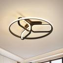 Acrylic Geometric Ceiling Light Modern Black/White/Gold Flush Mount Lamp for Bedroom, 18