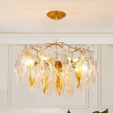 Gold Spiral Chandelier Light Modernism 6 Heads LED Clear Crystal Pendant Lighting for Living Room