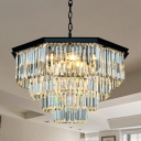 Tapered Chandelier Light Traditional Amber/Clear Crystal 11 Heads Living Room Hanging Lamp