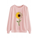 Casual Fashion Women's Long Sleeve Crew Neck Sunflower Patterned Baggy Pullover Sweatshirt