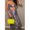 Sexy Womens Snake Skin Printed Zip Front Cropped Cami Top with Loose Pants Co-ords