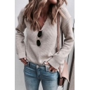 Elegant Fashion Ladies' Long Sleeve Deep V-Neck Relaxed Fit Chunky Knit Plain Pullover Sweater Top