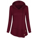 Womens Trendy Solid Color Long Sleeve Button Embellished Irregular Hem Loose Hoodie