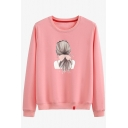 Casual Long Sleeve Crew Neck Girl Printed Loose Fit Daily Pullover Sweatshirt for Girls