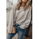 Women's Basic Chic Long Sleeve Crew Neck Pearl Embellished Relaxed Fit Pullover Sweater in Grey