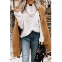 Women's Plain Long Sleeve Turtle Cowl Neck Waffle-Knit Baggy Fashion Pullover Sweater
