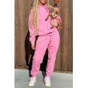 Simple Style Long Sleeve Loose Hoodie with Sweatpants Whole Colored Two Piece Sport Set