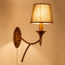 Army Green Cone Wall Lighting Lodge Style 1/2-Light Fabric Sconce Light Fixture For Bedroom