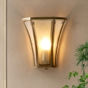 1 Head Beveled Flush Mount Wall Light Retro Frosted Opal Glass Wall Sconce in Gold