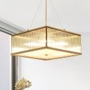 Square Shaped Crystal Chandelier Lighting Fixture Modern Lights Brass Hanging Light Kit