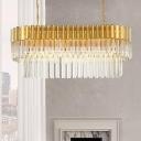 Modern Layered Island Lighting Fixture Crystal 8 Lights Dining Room Pendant Light in Brass