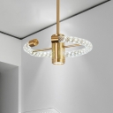 Round Chandelier Light Contemporary Crystal LED Brass Suspended Lighting Fixture, 16