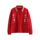 Cute Girls' Long Sleeve Lapel Collar Button Detail Cartoon Pattern Patch Pocket Relaxed Pullover Sweatshirt in Red