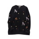 Girls Lovely Horse Embroidery Sequined Star Print Long Sleeve Crewneck Pullover Sweatshirt
