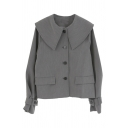 Popular Girls' Vintage Long Sleeve Exaggerate Collar Button Down Flap Pockets Loose Fit Jacket in Grey