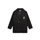 Women's Basic Long Sleeve Lapel Neck Double Breasted Pocket Decoration Logo Oversize Coat in Black