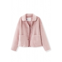 Girl's Pink Cute Long Sleeve Lapel Collar Button Down Patched Pockets Velvet Loose Coat