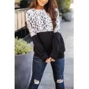 Basic Fashion Long Sleeve Crew Neck Snake Leopard Print Thin Loose Fit Midi Pullover Sweatshirt for Women