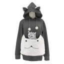 Girls' Cute Long Sleeve Pompom Drawstring Kitty Patterned Large Pocket Patched Oversize Cat Ear Midi Hoodie