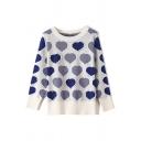 Leisure Faux Pearl Embellished Heart Pattern Long Sleeve Fashion Sweater Knitwear