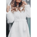 Dressy Fashion Long Sleeve Hooded Bow Tie Waist Oversize Maxi Plain Fur Mink Coat for Women