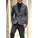 Mens Street Fashion Plain Long Sleeve Shawl Collar Button Up Plush Coat Fitted Jacket
