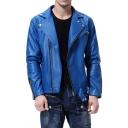 Mens Popular Solid Color Long Sleeve Notched Collar Side Zip Up PU Biker Jacket