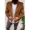 Fashionable Mens Solid Color Epaulets Long Sleeve Zipper Decoration Slim Corduroy Jacket