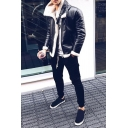 Hot Popular Sherpa Lined Lapel Collar Long Sleeve Zip Up Thick PU Leather Jacket Coat