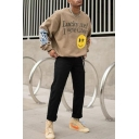LUCKY ME I SEE GHOSTS Letter Smile Face Fire Print Long Sleeve Boxy Pullover Sweatshirt