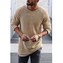 Mens Casual Fashion Plain Long Sleeve Crewneck Tunic Pullover Sweater Knitwear