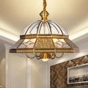 7 Bulbs Chandelier Light Fixture Colonialist Bedroom Hanging Lamp with Dome Clear Glass in Gold