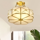 Scalloped Bedroom Semi-Flush Mount Traditional Opaque Glass 4 Bulbs Brass Ceiling Light Fixture