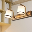Opal Glass Gold Wall Mount Lighting Cylinder 2/3 Bulbs Traditional Vanity Wall Sconce for Bathroom