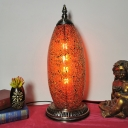 Red Crackle Glass Elliptical Nightstand Lamp Moroccan Single Head Bedroom Table Light