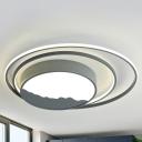 Acrylic Drum Ceiling Lighting Simple Style Gray/White LED Flush Mount Light, 19.5