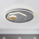 Geometric Acrylic Ceiling Mounted Fixture Modern Gray 19.5