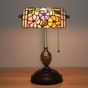 Brass 1 Head Banker Desk Lamp Victorian Stained Glass Rose/Blossom/Lotus Reading Lamp with Pull Chain