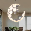Geometric Dining Room Chandelier Lamp Acrylic Led Contemporary Hanging Ceiling Light in White