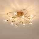Gold Branch Semi Flush Contemporary 10/15 Heads Cut Crystal Ceiling Mount Light Fixtrue