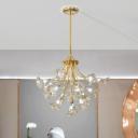 16 Heads Starburst Cluster Pendant Light Modernism Crystal Hanging Ceiling Light in Gold