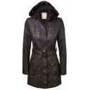 Cool Women's Long Sleeve Hooded Zip Decoration Button Front Flap Pockets Buckle Belted Fitted Leather Coat in Coffee