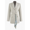 Female Apricot Formal Long Sleeve Notch Collar Button Down Flap Pockets Buckle Belted Slim Blazer with Patterned Scarf