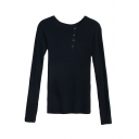 Classic Plain Long Sleeve Round Neck Button Front Slim Fit Knit T Shirt for Women